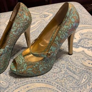 Hale Bob teal and gold high heels